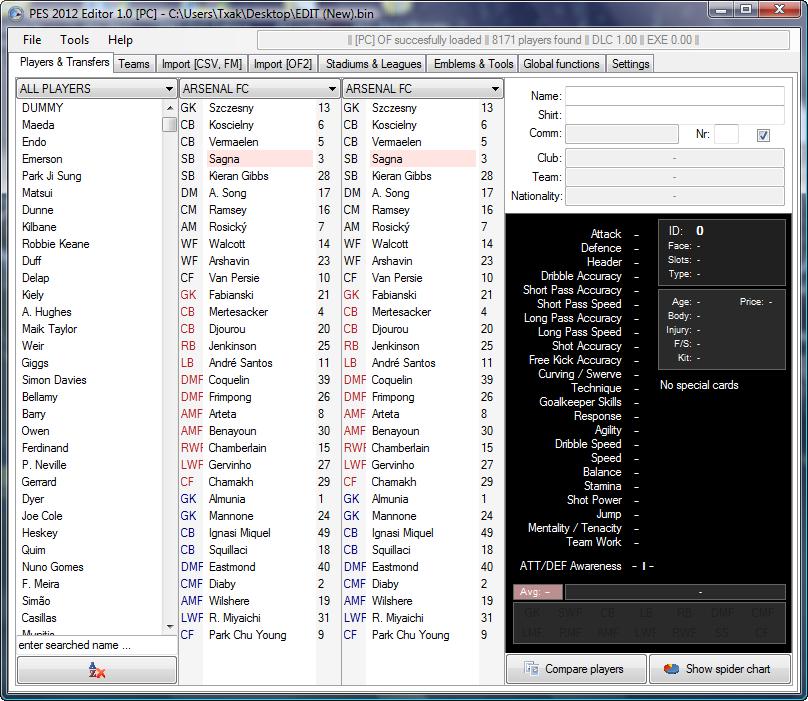 PES 2012 Editor v1.0 by w!Ld@