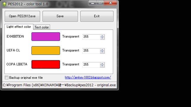 PES 2012 Color changer tool v1.2 by Jenkey1002