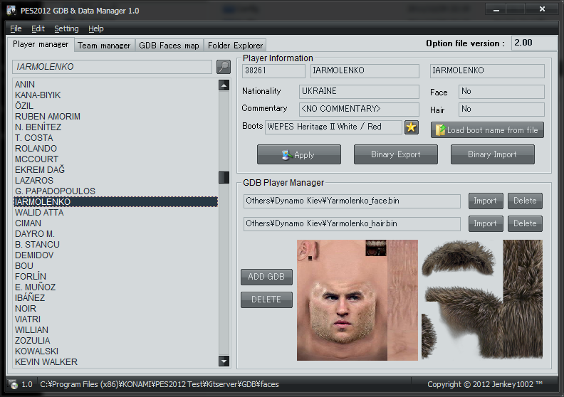 PES2012 GDB Face Manager 1.20 (12/29) by Jenkey1002