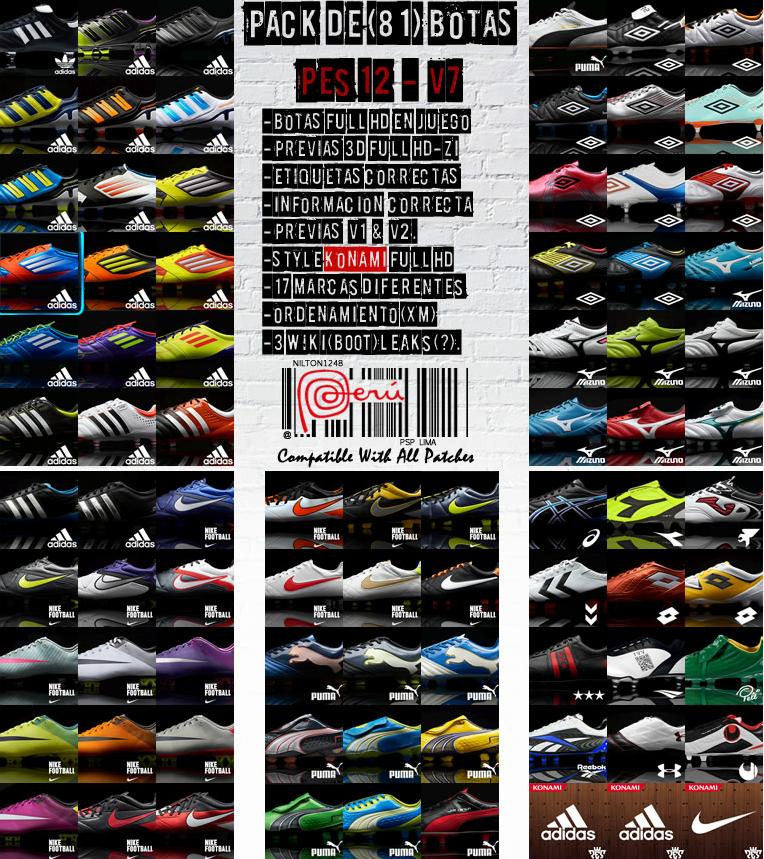 Pack De Botas (81 Boots) Pes 12 – V7 Full HD by Nilton1248