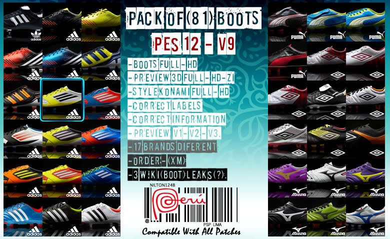 Pack of (81) Boots Pes 12 – V9 Full HD by Nilton1248