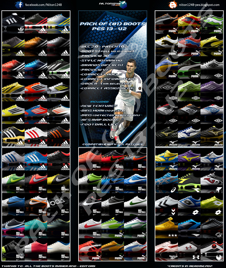 Pack 81 Boots Pes 13 – V2 Full HD by Nilton1248
