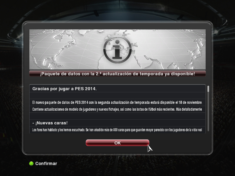 PES 2014 Konami Patch 1.04 y Data Pack 2.00