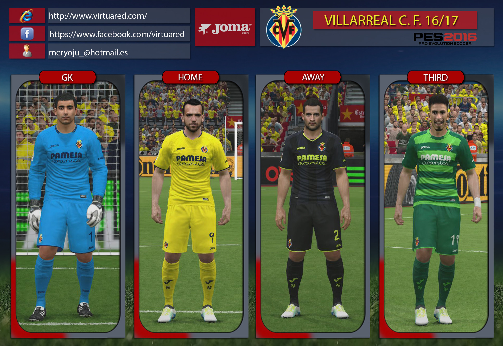 Villareal CF 16/17 kits by Meryoju