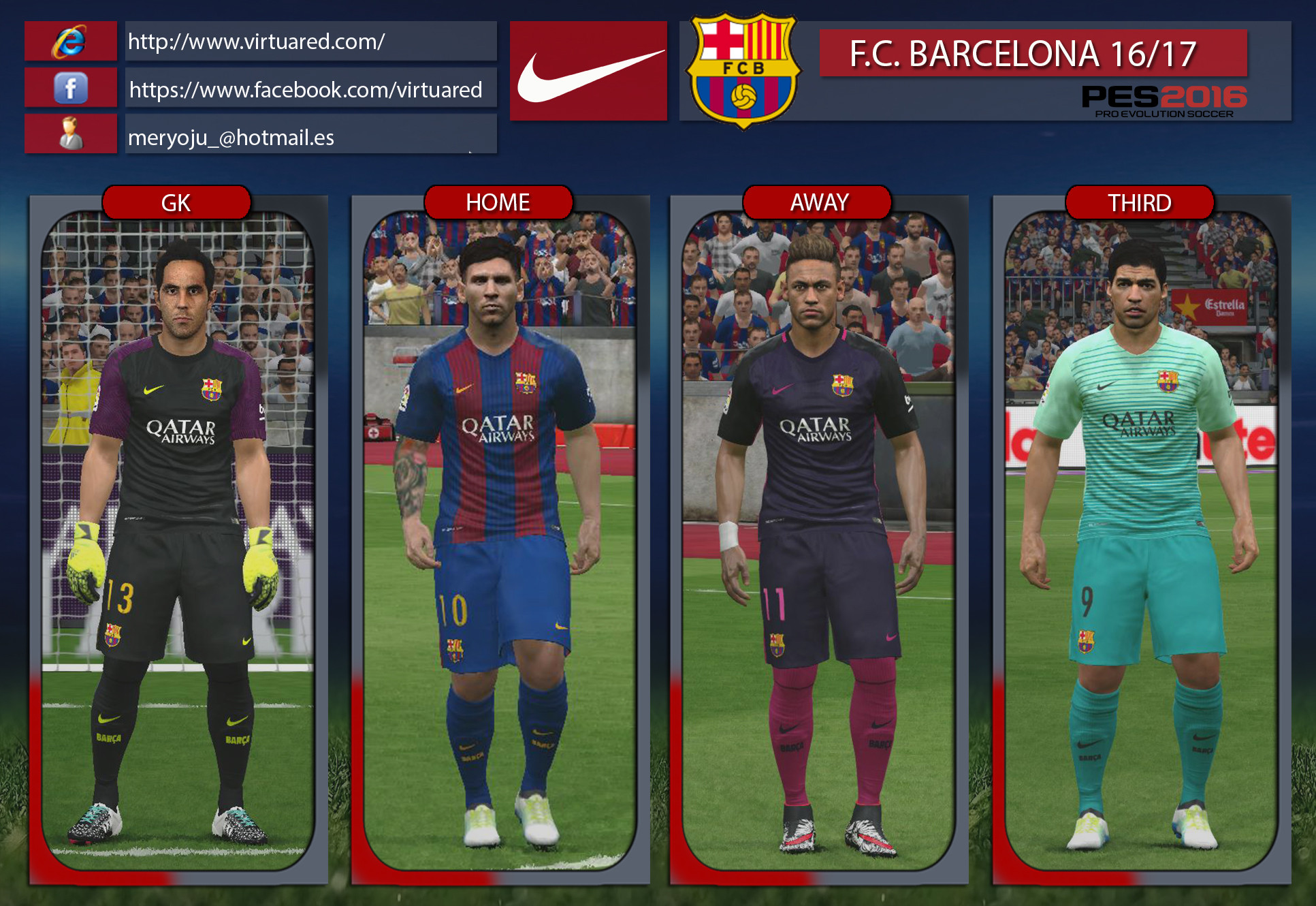 FC Barcelona 16/17 kits by Meryoju