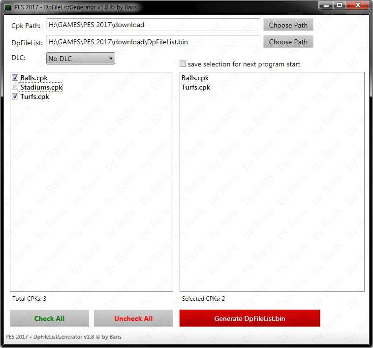 DpFileList Generator v1.8 by Baris
