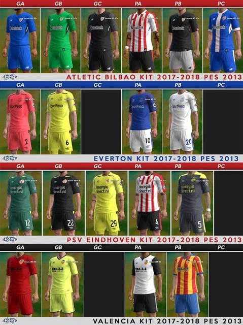 A. Bilbao, Everton, PSV & Valencia Kits 17-18 by BMG Kitmaker