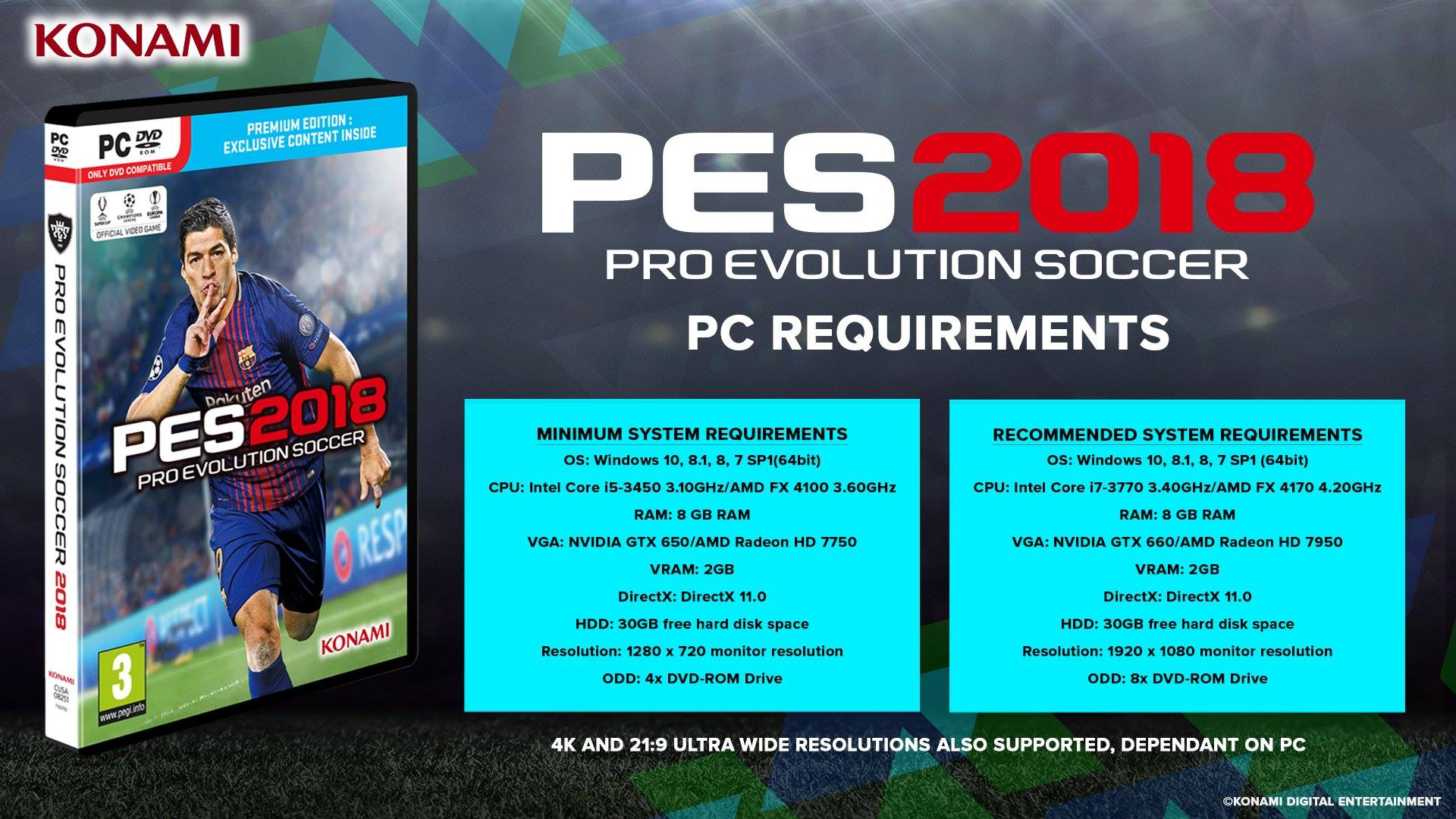 Requisitos mínimos PES 2018 de PC