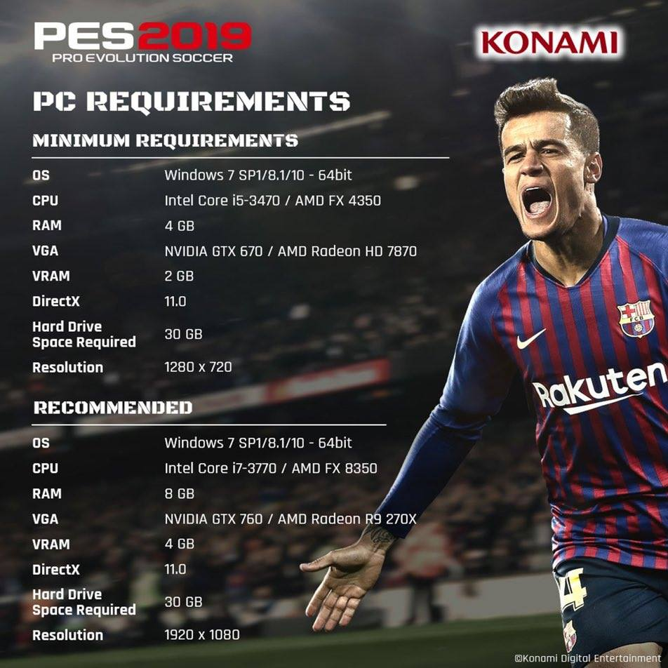 Revelados los requisitos de PES 2019 para PC