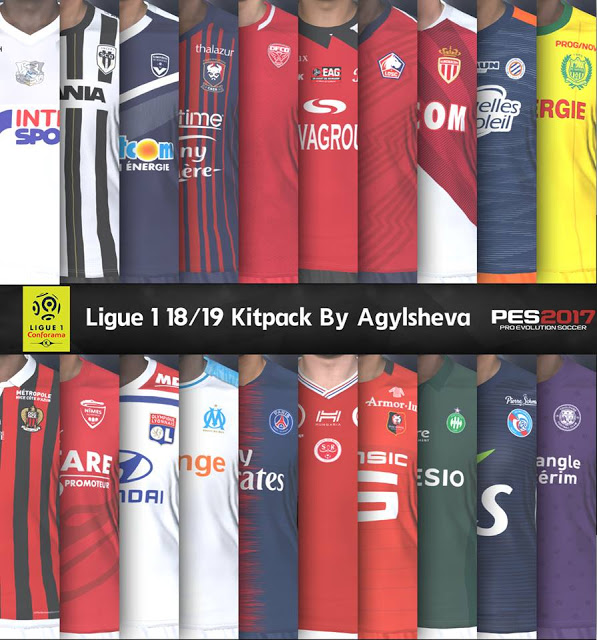 PES 2017 Ligue 1 Full Kits-Pack 2018-19 By Agylsheva
